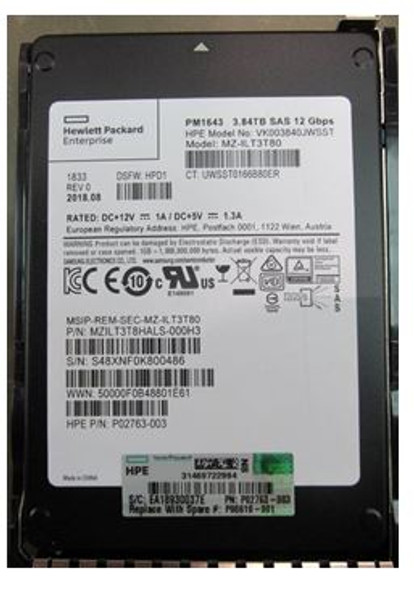 HPE VK003840JWSST-SC 3.84TB 2.5inch SFF Digitally Signed Firmware SAS-12Gbps Smart Carrier Read Intensive Solid State Drive for ProLiant Gen8 Gen9 Gen10 Servers (New Bulk with 1 Year Warranty)