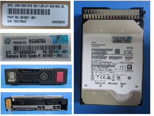 "HPE 861590-K21 8TB 3.5inch LFF 7200RPM Digitally Signed Firmware SAS-12Gbps Smart Carrier Midline Hard Drive for ProLiant Gen9 Gen10 Servers (New Bulk ""O"" Hour With 1 Year Warranty)"
