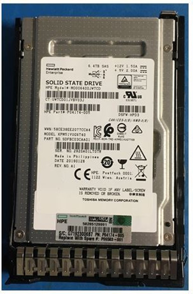 HPE P04539-K21 6.4TB 2.5inch SFF Digitally Signed Firmware MLC SAS-12Gbps Smart Carrier Mixed Use Solid State Drive for ProLaint Gen10 Servers (Brand New with 3 Years Warranty)