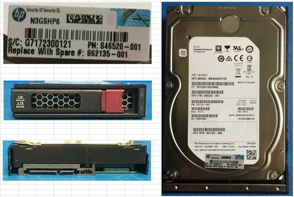 """HPE 861744-K21 4TB 7200RPM 3.5inch LFF Digitally Signed Firmware 512e SATA-6Gbps Low Profile Midline Hard Drive for ProLiant Gen10 Servers (New Bulk """"O"""" Hour With 1 Year Warranty)"""