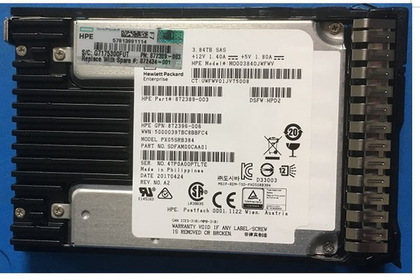 HPE 872394-H21 3.84TB 2.5inch SFF MLC Digitally Signed Firmware SAS-12Gbps SC Read Intensive Solid State Drive for ProLiant Gen9 Gen10 Servers (New Bulk with 1 Year Warranty)