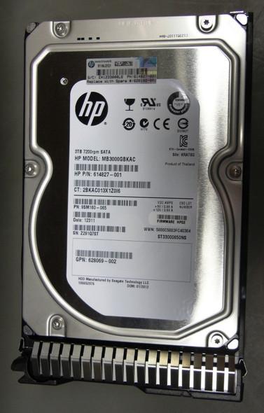 HPE 628061-B21 3TB 7200RPM 3.5inch LFF SATA-6Gbps Smart Carrier Midline Hard Drive for ProLiant Gen8 Gen9 Gen10 Servers (Grade A Clean with Lifetime warranty)