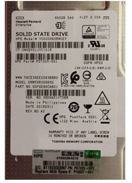 HPE P10440-H21 960GB 2.5inch SFF Digitally Signed Firmware SAS-12Gbps Smart Carrier Read Intensive Value SAS Solid State Drive for ProLiant Gen9 Gen10 Servers (Brand New with 3 Years Warranty)