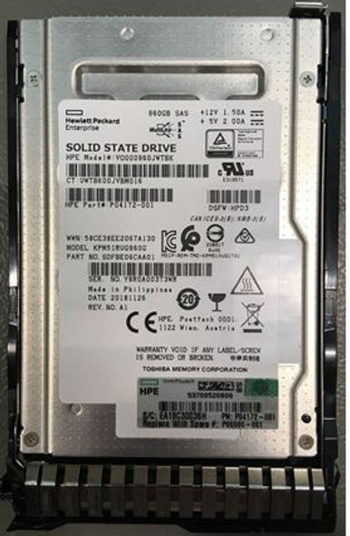 HPE VO000960JWTBK-SC 960GB 2.5inch SFF Digitally Signed Firmware MLC SAS-12Gbps Read Intensive Solid State Drive for ProLiant Gen9 Gen10 Servers (Brand New with 3 Years Warranty)