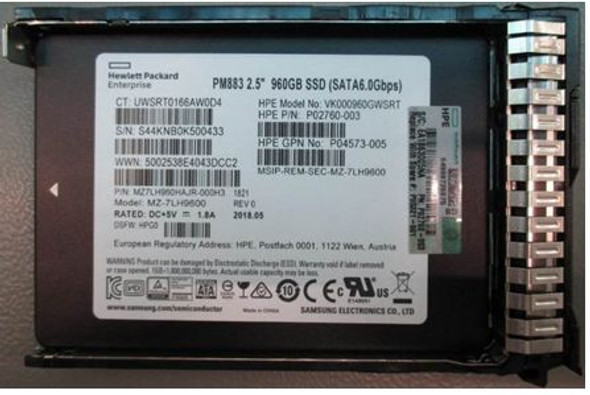 HPE P02760-003-SC 960GB 2.5inch SFF Digitally Signed Firmware MLC SATA-6Gbps Read Intensive Solid State Drive for ProLiant Gen9 Gen10 Servers (Brand New With 3 Years Warranty)