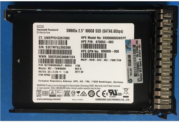 HPE 872359-K21 800GB 2.5inch SFF Digitally Signed Firmware MLC SATA-6Gbps Smart Carrier Write Intensive Solid State Drive for ProLiant Gen9 Gen10 Servers (Brand New with 3 Years Warranty)