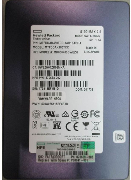 HPE P00041-001 480GB 2.5inch SFF SATA-6Gbps Smart Carrier Multi Vendor Mixed Use Solid State Drive for ProLiant Gen9 Gen10 Servers (Brand New with 3 Years Warranty)