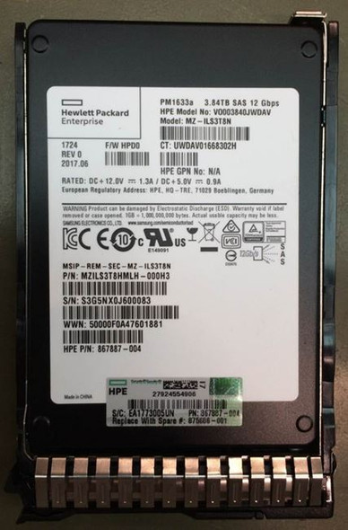 HPE VO003840JWDAV-SC 3.84TB 2.5inch SFF MLC Digitally Signed Firmware SAS-12Gbps Read Intensive Solid State Drive for ProLiant Gen9 Gen10 Servers (New Bulk with 1 Year Warranty)