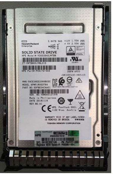 HPE P04521-B21 3.84TB 2.5inch SFF MLC Digitally Signed Firmware SAS-12Gbps SC Read Intensive Solid State Drive for ProLiant Gen9 Gen10 Servers (New Bulk with 1 Year Warranty)