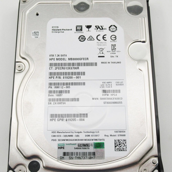 HPE 819205-004-LP 8TB 7200RPM 3.5inch LFF Digitally Signed Firmware 512e SATA-6Gbps Low Profile Carrier Midline Hard Drive for ProLiant Gen10 Servers (Brand New with 3 Years Warranty)