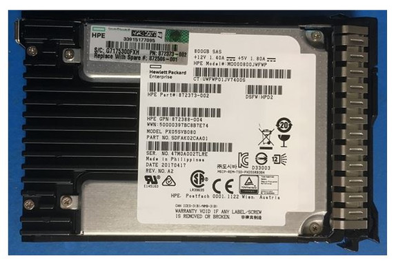 HPE 872376-B21 800GB 2.5inch SFF Digitally Signed Firmware SAS-12Gbps SC Mixed Use Solid State Drive for ProLaint Gen9 Gen10 Servers (Brand New with 3 Years Warranty)