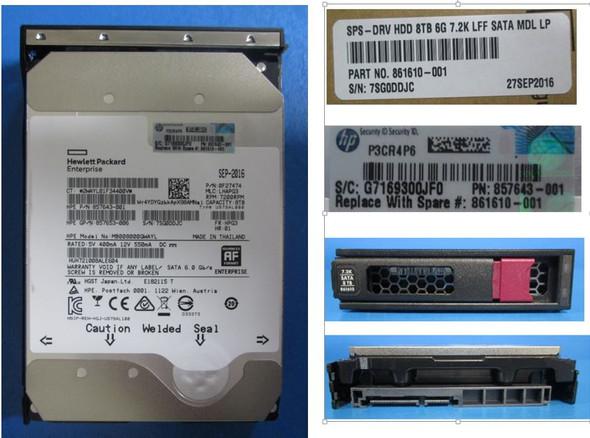 HPE 861610-001 8TB 7200RPM 3.5inch LFF 512e Digitally Signed Firmware SATA-6Gbps Low Profile (LP) Midline Hard Drive for ProLiant Gen9 Gen10 Servers (Brand New 3 Years Warranty)
