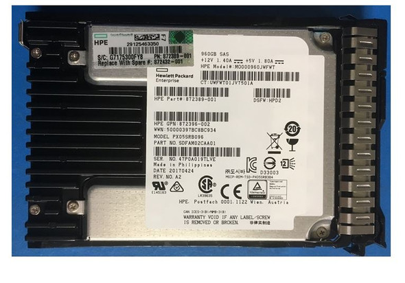 HPE 872432-001 960GB 2.5inch SFF Digitally Signed Firmware SAS-12Gbps Smart Carrier Read Intensive Solid State Drive for ProLiant Gen9 Gen10 Servers (Brand New With 3 Years Warranty)