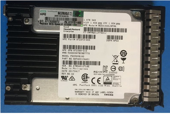 HPE 872509-001 1.6TB 2.5inch SFF Digitally Signed Firmware SAS-12Gbps SC Mixed Use Solid State Drive for ProLiant Gen9 Gen10 Servers (Brand New with 3 Years Warranty)