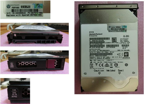 HPE Helium 857966-001 10TB 7200RPM 3.5inch LFF Digitally Signed Firmware 512e SAS-12Gbps Low Profile Midline Hard Drive for ProLiant Generation9 Generation10 Servers (Brand New with 3 Years Warranty)