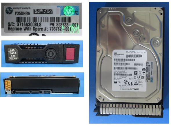 HPE 793762-001 6TB 3.5 inch 7200 RPM SATA-6Gbps SC Midline Hard Disk Drive for ProLiant Gen8 Gen9 Gen10 Servers (New Bulk Pack With 1 Year Warranty)