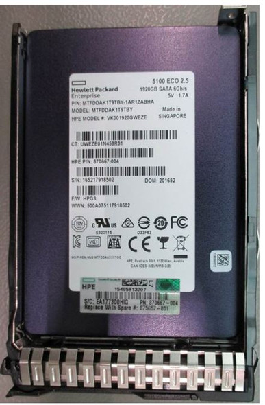 HPE 870667-004-SC 1.92TB 2.5inch SFF Digitally Signed Firmware SATA-6Gbps Smart Carrier Read Intensive Solid State Drive for ProLiant Gen8 Gen9 Gen10 Servers (Brand New with 3 Years Warranty)