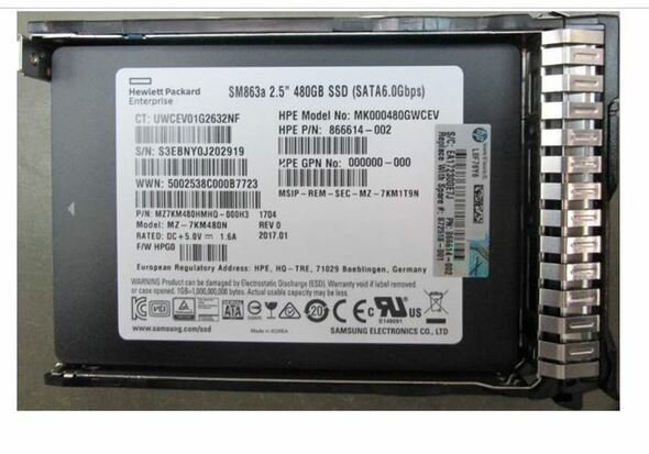 HPE 872344-B21 480GB 2.5inch SFF MLC Power Loss Protection (PLP) Digitally Signed Firmware SATA-6Gbps Smart Carrier Hot-Swap Mixed Use-3 Solid State Drive for ProLiant Gen8 Gen9 Gen10 Servers (New Bulk Pack With 1 Year Warranty)