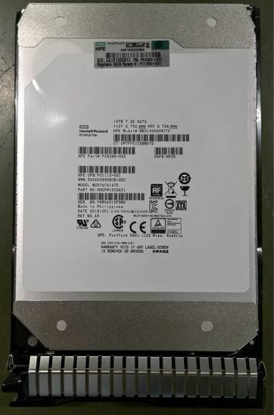 HPE Helium MB014000GWTFF-SC 14TB 7200RPM 3.5inch LFF 512e Digitally Signed Firmware SATA-6Gbps Smart Carrier Midline Hard Drive for ProLiant Gen8 Gen9 Gen10 Servers (New Bulk Pack with 1 Year Warranty)