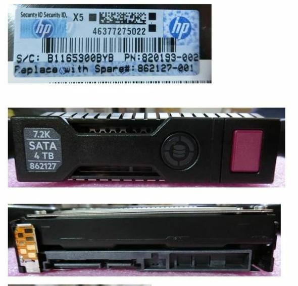 """HPE 820193-002-SC 4TB 7200RPM 3.5inch LFF SATA-6Gbps SC Midline Hard Drive for ProLiant Gen8 Gen9 Gen10 Servers (New Bulk """"O"""" Hour With 1 Year Warranty)"""