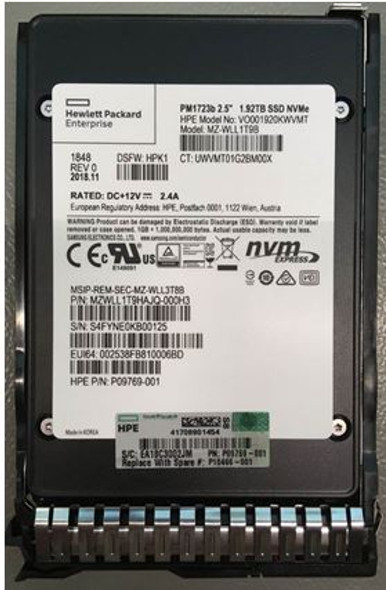 HPE P10466-001 1.92TB 2.5inch Small Form Factor MLC Digitally Signed Firmware NVMe U.2 PCIe x4 Mainstream Performance SCN Read Intensive Solid State Drive for ProLiant G8 G9 G10 Servers (New Bulk Pack With 1 Year Warranty - ETA 3 Weeks)
