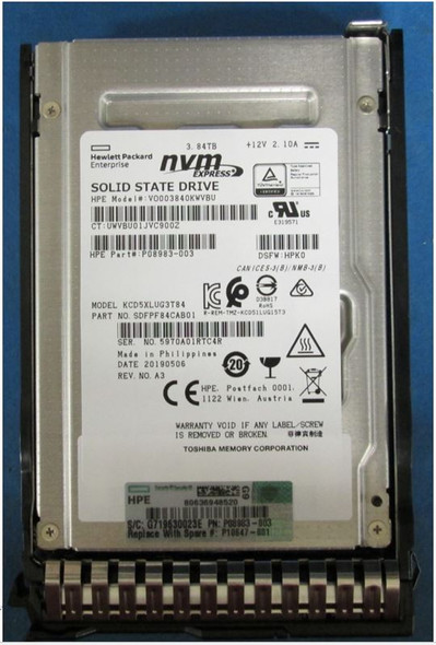 HPE P10212-H21 3.84TB 2.5inch SFF Digitally Signed Firmware NVMe U.2 PCIe x4 Mainstream Performance SCN Read Intensive Solid State Drive for ProLiant Gen8 Gen9 Gen10 Servers (New Bulk Pack With 1 Year Warranty - ETA 3 Weeks)
