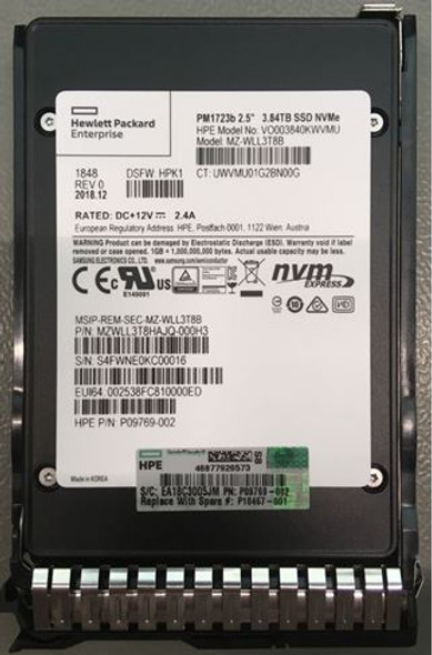 HPE P10467-001 3.84TB 2.5inch SFF Digitally Signed Firmware NVMe U.2 PCIe x4 Mainstream Performance SCN Read Intensive Solid State Drive for ProLiant Gen8 Gen9 Gen10 Servers (New Bulk Pack With 1 Year Warranty - ETA 3 Weeks)