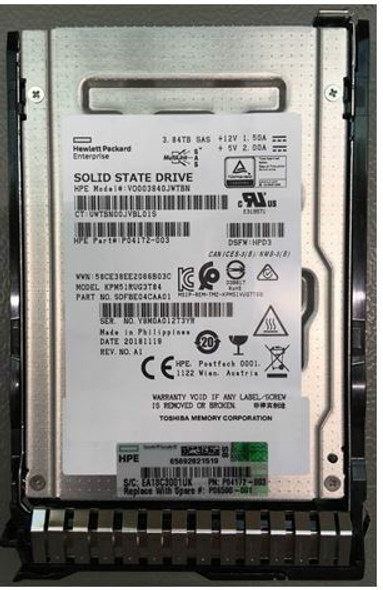 HPE P04521-X21 3.84TB 2.5inch SFF MLC Digitally Signed Firmware SAS-12Gbps SC Read Intensive Solid State Drive for ProLiant Gen9 Gen10 Servers (New Bulk with 1 Year Warranty)