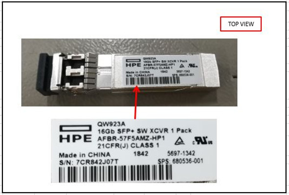 HPE 680536-001 16Gb Fibre Channel Short Wave (SW) Enhanced Small-form Pluggable (SFP+) Transceiver Module (Grade A with Lifetime Warranty)