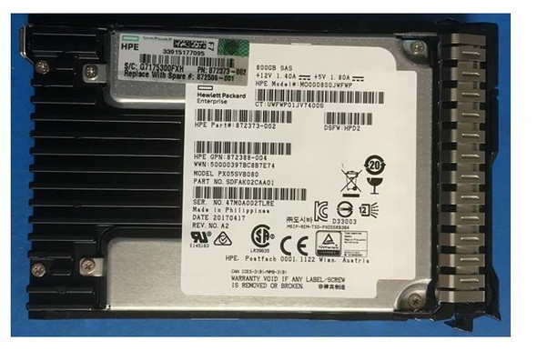 HPE P04527-X21 800GB 2.5inch SFF Triple-level cell Digitally Signed Firmware (DS) SAS-12Gbps Smart Carrier Mixed Use Solid State Drive for ProLiant Gen8 Gen9 Gen10 Servers (Brand New with 3 Years Warranty)