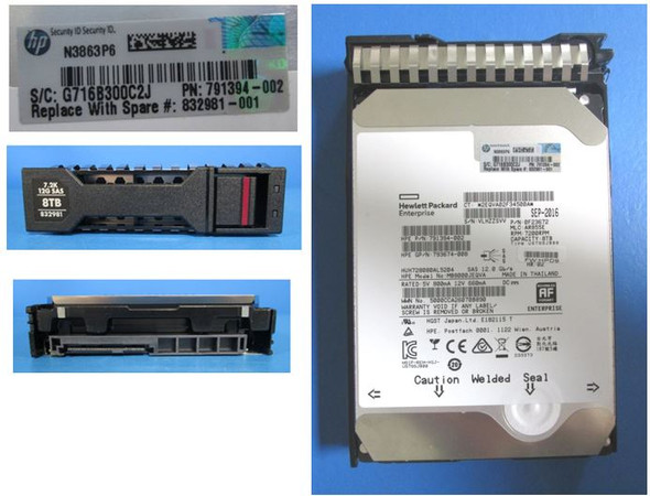 HPE MSA 832981-001 8TB 7200RPM 3.5inch LFF 512e SAS-12Gbps Midline Hard Drive for StoreVirtual 3000 (Brand New with 3 Years Warranty)