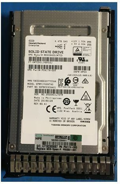 HPE MO006400JWTCD-SC 6.4TB 2.5inch SFF Multi-Level Cell Digitally Signed Firmware (DS) SAS-12Gbps Smart Carrier Mixed Use Solid State Drive for ProLiant Gen8 Gen9 Gen10 Servers (Grade A with Lifetime Warranty)