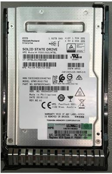 HPE P04172-002-SC 1.92TB 2.5inch SFF Digitally Signed Firmware SAS-12Gbps SC Read Intensive Solid State Drive for ProLiant Gen9 Gen10 Servers (Brand New with 3 Years Warranty)