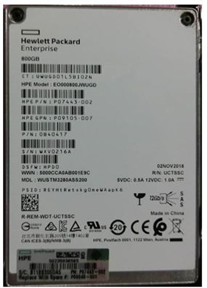 HPE P09100-K21 800GB 2.5inch SFF Triple-level cell Digitally Signed Firmware (DS) SAS-12Gbps Smart Carrier Write Intensive Solid State Drive for ProLiant Gen8 Gen9 Gen10 Servers (Brand New with 3 Years Warranty)