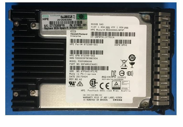HPE 872390-X21 960GB 2.5inch SFF Digitally Signed Firmware SAS-12Gbps Smart Carrier Read Intensive Solid State Drive for ProLiant Gen9 Gen10 Servers (Brand New With 3 Years Warranty)