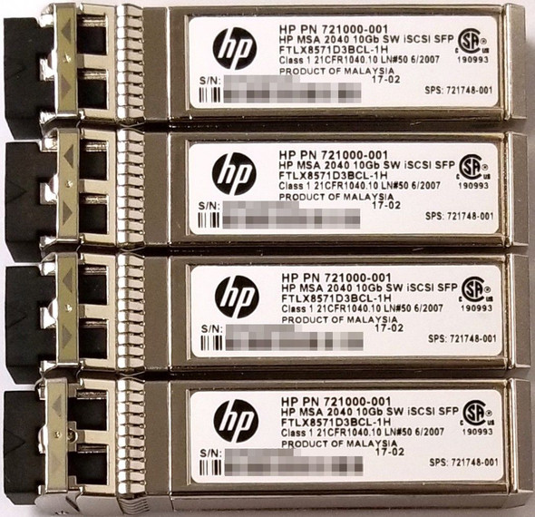HPE C8R25A 10Gbps Short Wave iSCSI SFP+ 4-Pack Transceiver Module for MSA 2040 SAN Storage (Brand New with 3 Years Warranty)