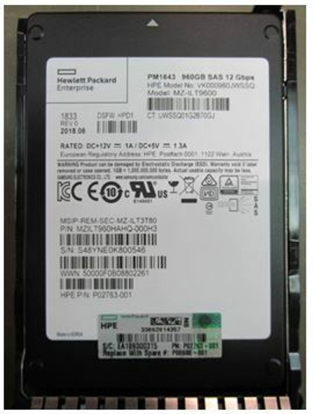 HPE P02763-001-SC 960GB 2.5inch SFF Digitally Signed Firmware SAS-12Gbps SC Read Intensive Solid State Drive for ProLiant Gen9 Gen10 Servers (Brand New with 3 Years Warranty)