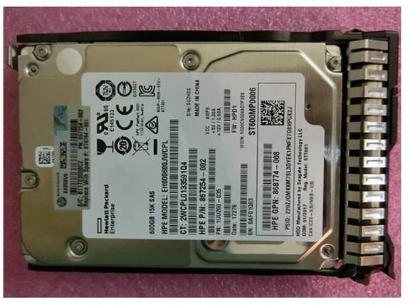 HPE 870757-X21 600GB 15000RPM 2.5inch SFF Digitally Signed Firmware 512n SAS-12Gbps SC Enterprise Hard Drive for ProLiant Gen8 Gen9 Gen10 Servers (Brand New with 3 Years Warranty)