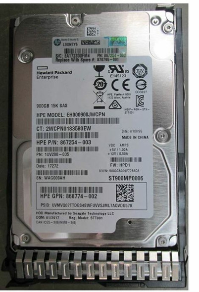 HPE 868774-002-SC 900GB 15000RPM 2.5inch SFF Digitally Signed Firmware 512n SAS-12Gbps SC Enterprise Hard Drive for ProLiant Gen9 Gen10 Servers (Brand New with 3 Years Warranty)