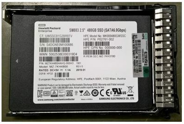 HPE MK000480GWSSC-SC 480GB 2.5inch SFF MLC Digitally Signed Firmware SATA-6Gbps Smart Carrier Mixed Use Solid State Drive for ProLiant Gen9 Gen10 Server (Brand New with 3 Years Warranty)