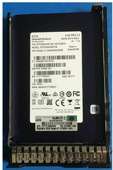 HPE 870667-001-SC 240GB 2.5inch SFF Digitally Signed Firmware SATA-6Gbps SC Read Intensive Solid State Drive for ProLiant Gen9 Gen10 Servers (Brand New with 3 Years Warranty)