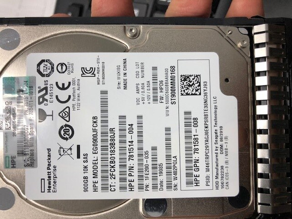 HPE 781514-004-SC 900GB 10000RPM 2.5inch SFF Dual Port 512n SAS-12Gbps Smart Carrier Enterprise Hard Drive for ProLiant Gen8 Gen9 Gen10 Servers (New Bulk Pack With 1 Year Warranty)