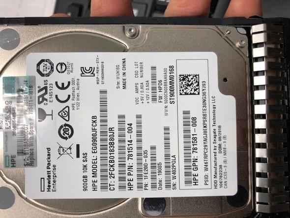 "HPE 768788-003-SC 900GB 10000RPM 2.5inch SFF Dual Port 512n SAS-12Gbps Smart Carrier Enterprise Hard Drive for ProLiant Gen8 Gen9 Gen10 Servers (New Bulk ""O"" Hour With 1 Year Warranty)"