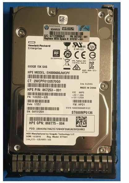 HPE 870763-H21 600GB 15000RPM 2.5inch SFF Digitally Signed Firmware 512e SAS-12Gbps SC Enterprise Hard Drive for ProLiant Gen9 Gen10 Servers (Brand New with 3 Years Warranty)