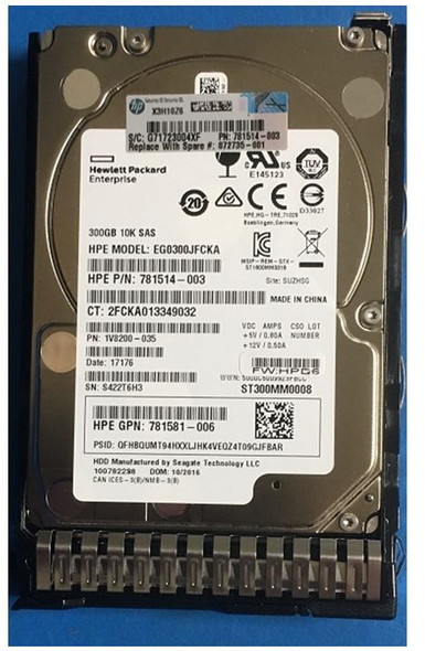 HPE 876936-003-SC 300GB 10000RPM 2.5inch SFF Digitally Signed Firmware SAS-12Gbps SC Enterprise Hard Drive for ProLiant Gen9 Gen10 Servers (Brand New with 3 Years Warranty)