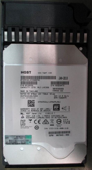 HPE Helium 867943-002 12TB 7200RPM 3.5inch LFF SAS-12Gbps Midline Hard Drive for MSA 1040/2040 SAN Storage (Brand New with 3 Years Warranty)