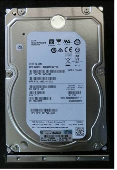 HPE 861742-K21 6TB 7200RPM 3.5inch LFF 512e Digitally Signed Firmware SATA-6Gbps Low Profile Carrier Midline Hard Drive for ProLiant Gen9 Gen10 Servers (Brand New with 3 Years Warranty)