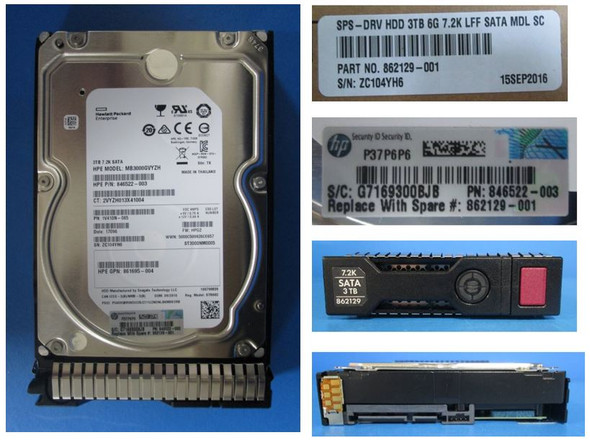 HPE 861693-X21 3TB 7200RPM 3.5inch LFF Digitally Signed Firmware SATA-6Gbps SC Midline Hard Drive for ProLiant Gen9 Gen10 Servers (New Bulk Pack with 1 Year Warranty)