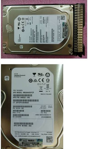HPE 872329-002-SC 2TB 3.5inch LFF 7200RPM 512e Digitally Signed Firmware SATA-6Gbps Smart Carrier Hot-Swap Midline Hard Drive for ProLiant Gen9 Gen10 Servers (Brand New with 3 Years Warranty)