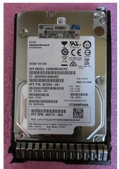 HPE EH000300JWKTN-SC 300GB 15000RPM 2.5inch SFF Digitally Signed Firmware SAS-12Gbps SC Enterprise Hard Drive for ProLiant Gen9 Gen10 Servers (Brand New with 3 Years Warranty)